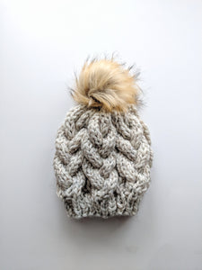 oatmeal braided cable knit faux fur hat