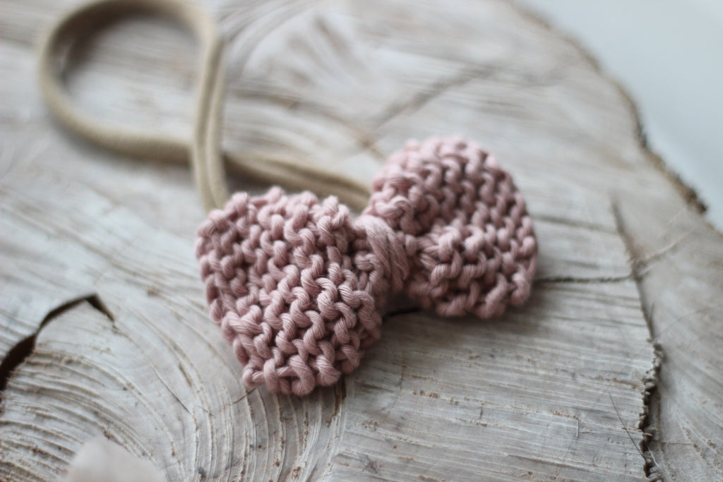 *new* clover | nude pink knit hair bow • pima cotton - Loops For Littles, handmade knits for infants and toddlers