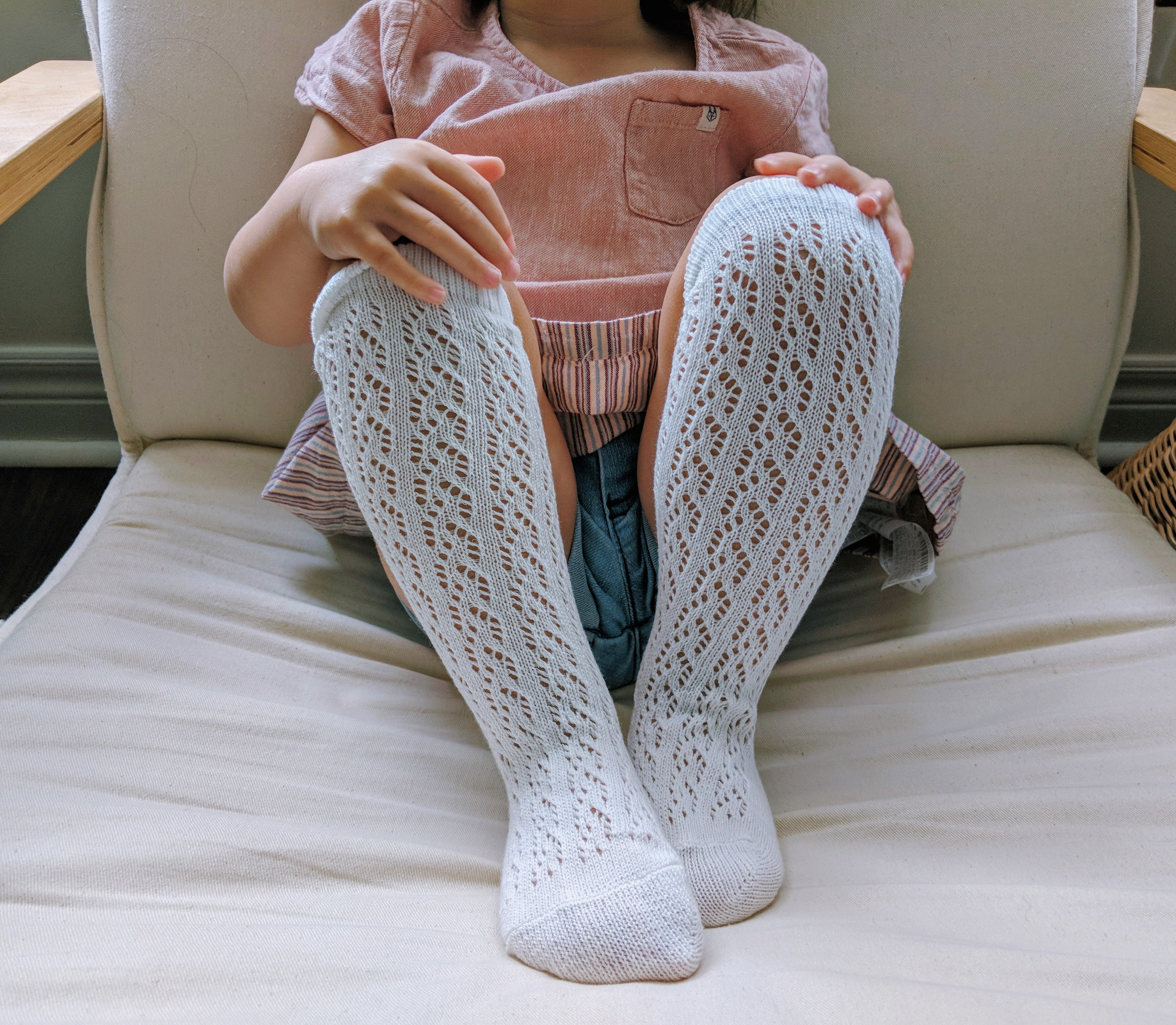 Crochet Lace Knee Socks - Loops For Littles, handmade knits for infants and toddlers