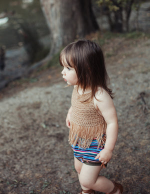 Boho Fringe Halter - Loops For Littles, handmade knits for infants and toddlers