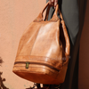 Premium handmade leather Moroccan pouf ottoman round  poof White Blue Sky - nomad&fashion