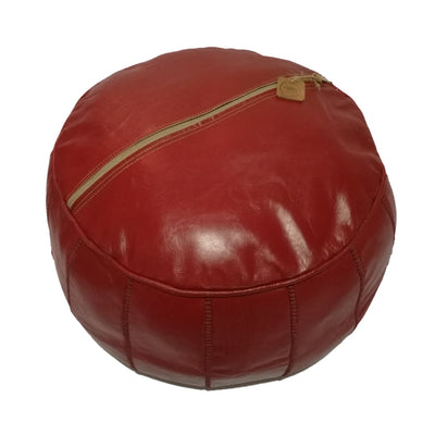Premium Handmade Leather Moroccan Pouf Ottoman Round Color Dark Red - nomad&fashion