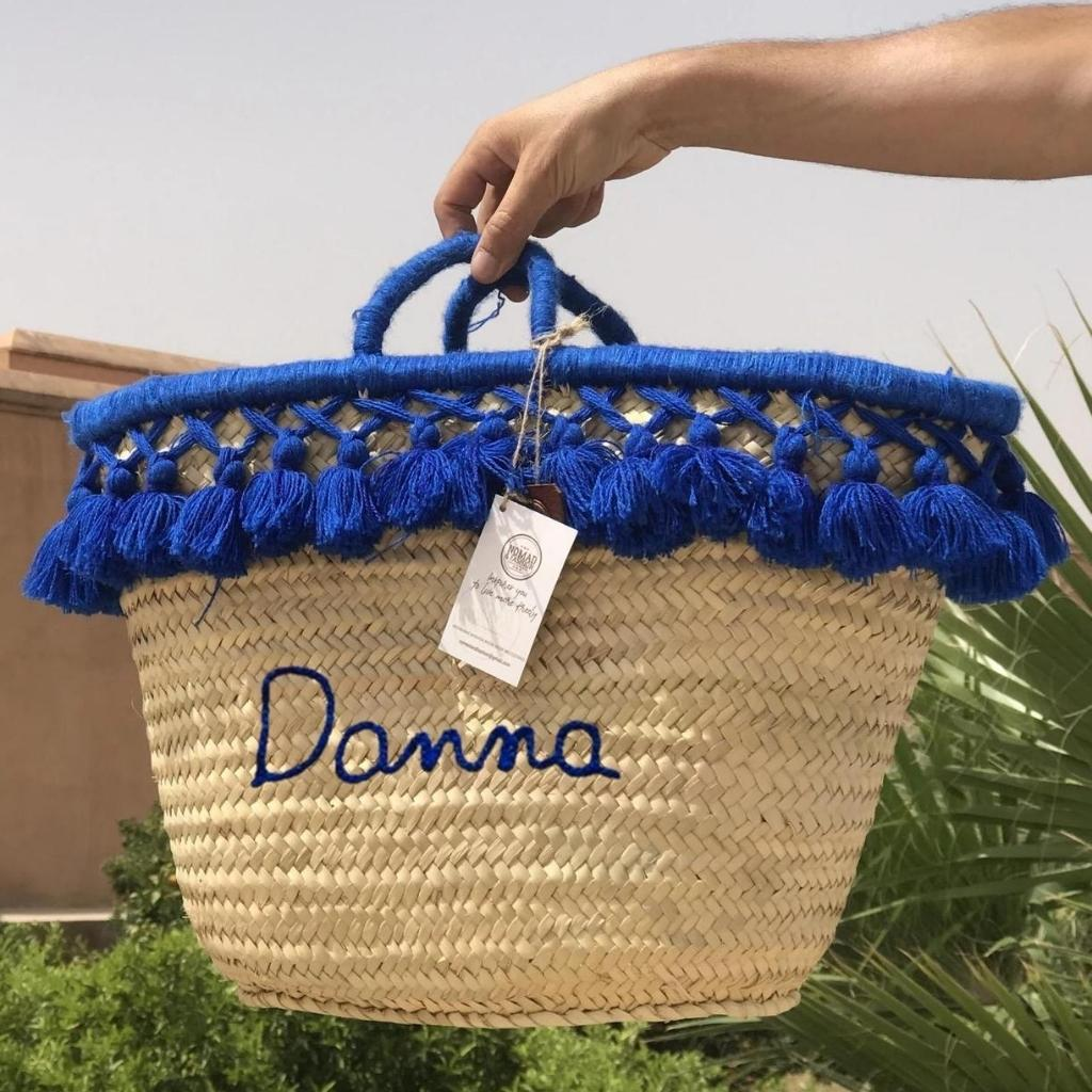 Monogrammed Moroccan Straw Basket With Tassels Personalized