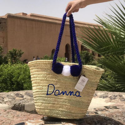 Monogrammed Moroccan Straw Basket Personalized With Pompoms
