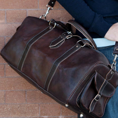 Leather Duffel Travel Bag BROOKLYN-X