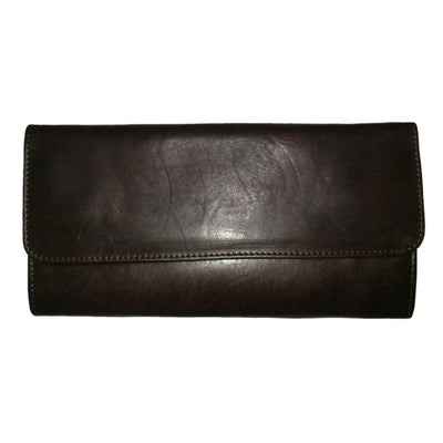 Women's Ladies fashion slim design Handmade Genuine Leather Wallet Card Holder Purse Black color - nomad&fashion