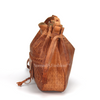 Premium handmade leather Moroccan pouf ottoman round  poof Color Fushia - nomad&fashion