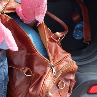 Leather Kilim Travel Bag Brown Chocolate - FREE SHIPPING OFFER