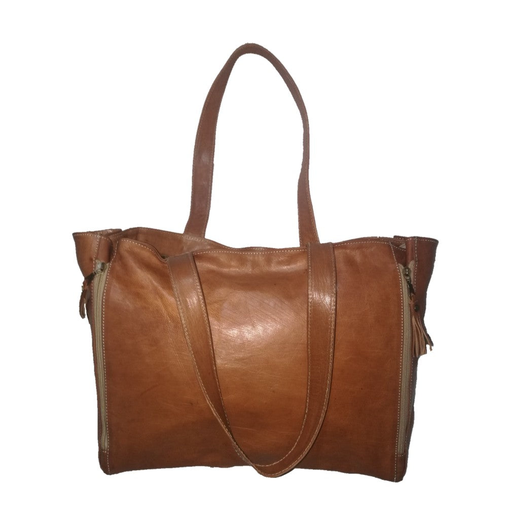 Women's Vintage Style Handcrafted Soft Leather Work Tote Large Shoulder - nomad&fashion