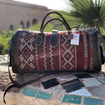 Leather Kilim Travel Bag Light Brown- FREE SHIPPING OFFER