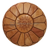 Premium handmade leather Moroccan pouf ottoman round  poof Color Light Almond Stitched Brown - nomad&fashion