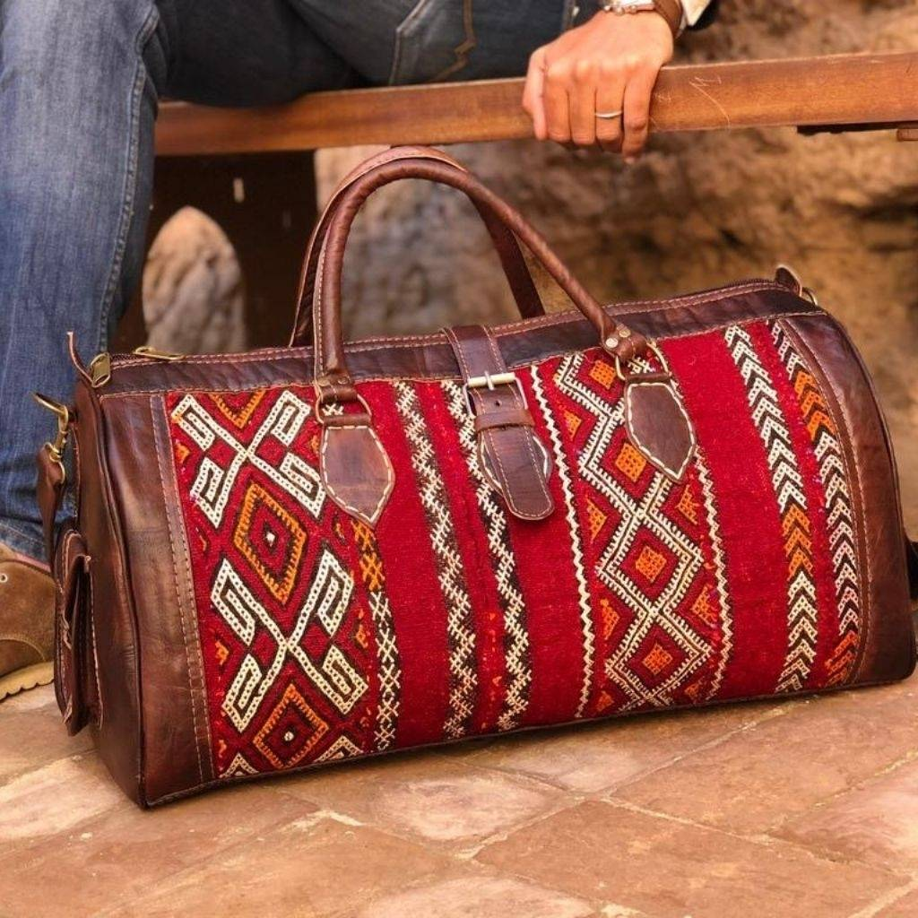 Leather Kilim Travel Bag Brown - FREE SHIPPING OFFER