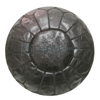 Premium handmade leather Moroccan pouf ottoman round  poof Black Stitched Black - nomad&fashion