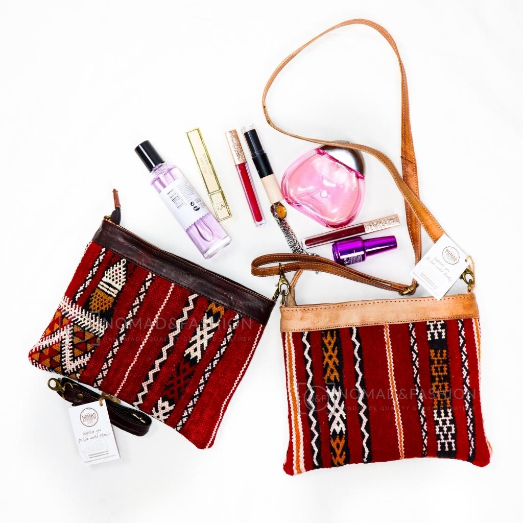 Leather Cross Body Purse With Kilim 🌸 Spring Deals %