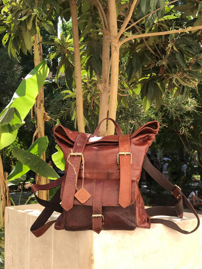 Moroccan handmade Leather Backpack Hiking Large - nomad&fashion