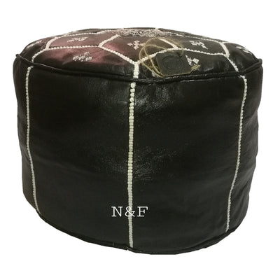 Moroccan Handmade leather pouf ottoman round footstool color Black Hand-Sewn Unstuffed - nomad&fashion