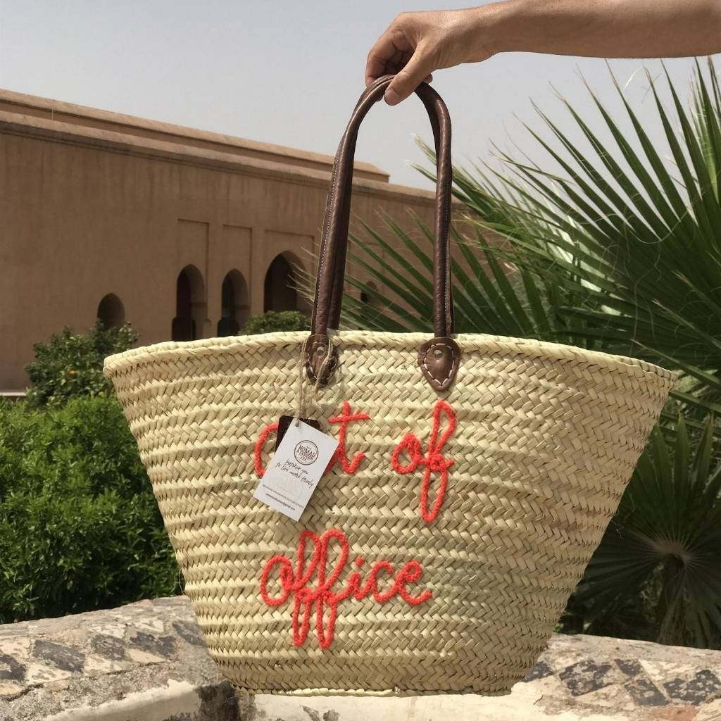 Personalized Moroccan Straw Beach Basket Bag Customized