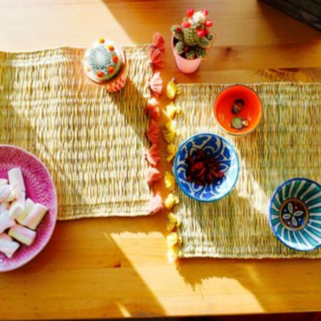 Set of 4 Handmade tassel mats placemats Boho interiors colourful Moroccan - nomad&fashion