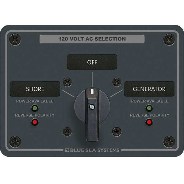 Blue Sea 8367 AC Rotary Switch Panel 30 Ampere 2 Positions + OFF, 2 Pole [8367]