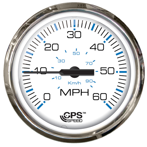 "Faria Chesapeake White SS 4"" Studded Speedometer - 60MPH (GPS) [33839]"