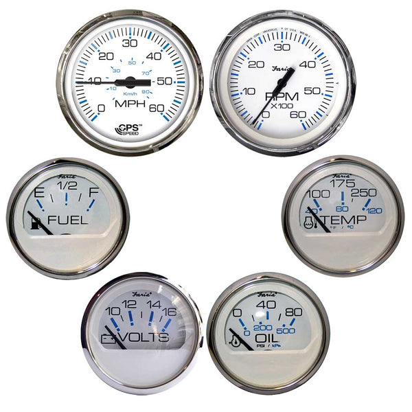 Faria Chesapeake White w/Stainless Steel Bezel Boxed Set of 6 - Speed, Tach, Fuel Level, Voltmeter, Water Temperature  Oil PSI - Inboard Motors [KTF063]