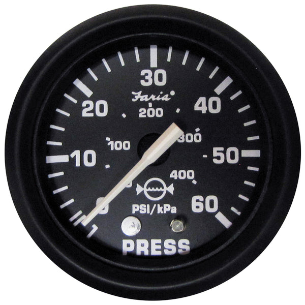 "Faria Euro Black 2"" Water Pressure Gauge (60 PSI) [12875]"