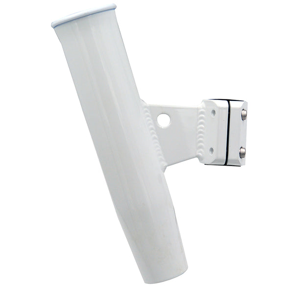 "C.E. Smith Aluminum Vertical Clamp-On Rod Holder 1-5/16"" OD White Powdercoat w/Sleeve [53716]"