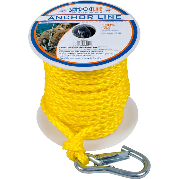 "Sea-Dog Poly Pro Anchor Line w/Snap - 3/8"" x 75 - Yellow [304210075YW-1]"