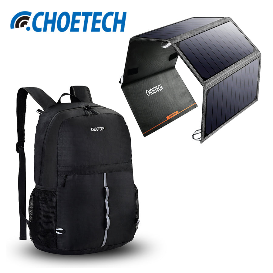 CHOETECH 24W Portable Solar Power Bank with Backpack Kit Solar Panel Phone Charger Dual USB - CHARGING BAGS