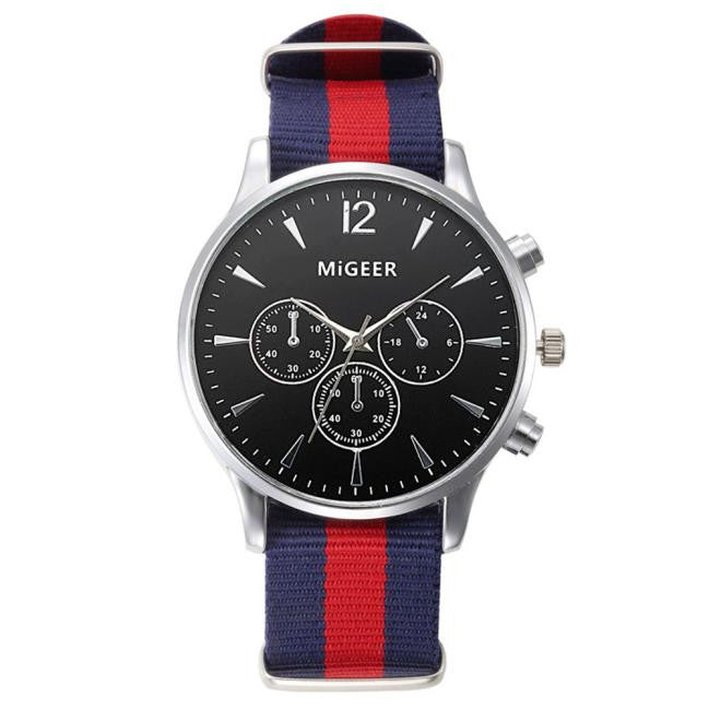 Blue and Red Canvas Wrist Watch