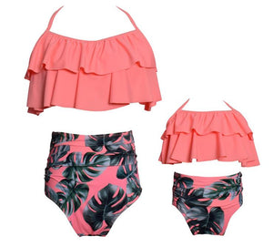 Pink Ruffles Mommy and Me Matching Swimsuit