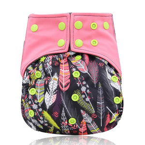 Pink Feathers AIO Cloth Diaper (Bamboo+Charcoal)