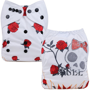Rose Skull Cloth Pocket Diaper - White