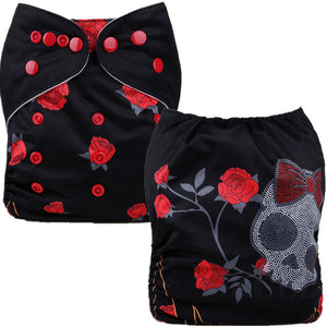 Rose Skull Cloth Pocket Diaper - Black