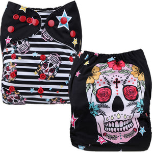 Sugar Skull Cloth Pocket Diaper - Black