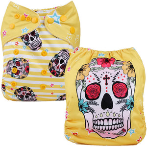 Sugar Skull Cloth Pocket Diaper - Yellow