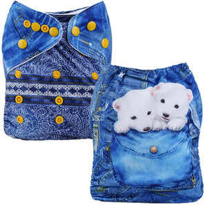 Polar Bear Jeans Cloth Pocket Diaper