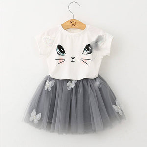 Cute Cat Shirt & Tutu Outfit (Multiple Colors)