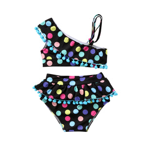Rainbow Dots and Poms 2 Piece Swimsuit