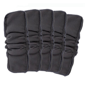 5-Layer Double Gusset Bamboo w/Charcoal Diaper Insert (5-Pack)