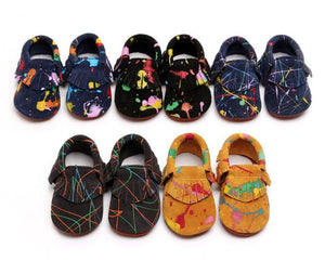 Slip-on Paint Splatter Suede Baby Moccasins