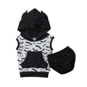 Hooded Bat Tank + Diaper Cover Outfit