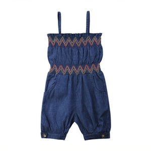Fancy Stitch Denim Romper