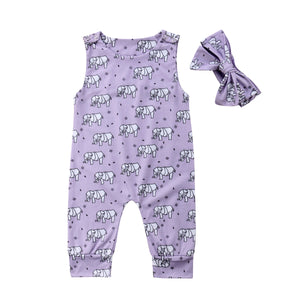 Geometric Elephant Jumpsuit + Headband