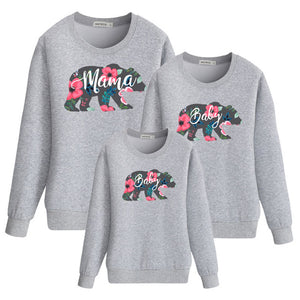 Floral Bear Mommy and Me Long Sleeve Shirt Gray
