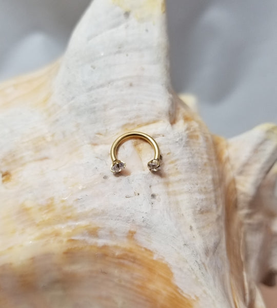 16G Gold 5/16 horseshoe clear CZ 3mm ends