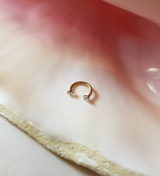 16G Rose gold 5/16 horseshoe clear CZ 3mm ends