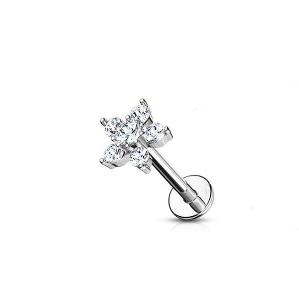 16G Flower shaped star labret with clear CZ gems - Internally threaded - surgical steel - seo-img