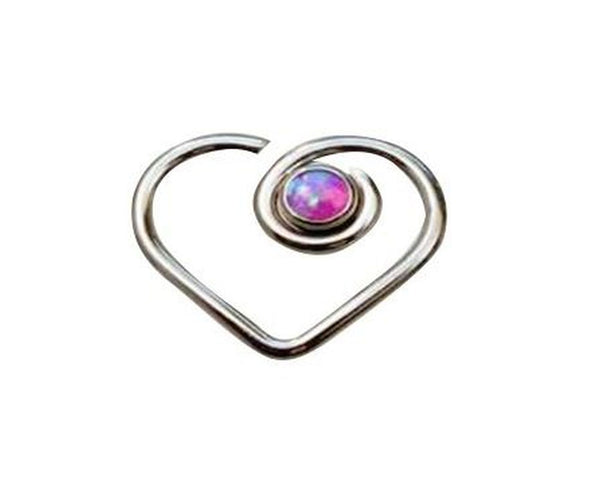 16G heart shaped daith earring with simulated purple fire opal G23 titanium - seo-img
