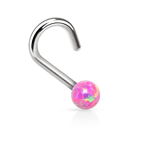 18G Opal Nose Screw - Pink - seo-img